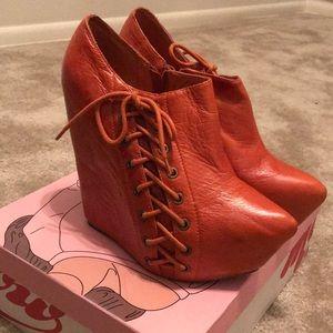 Jeffrey Campbell orange leather wedge booties
